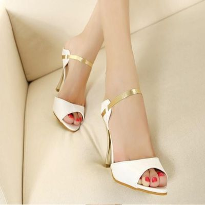 Fashion Fish Mouth Metallic High Heel Sandals - Daisy Dress For Less