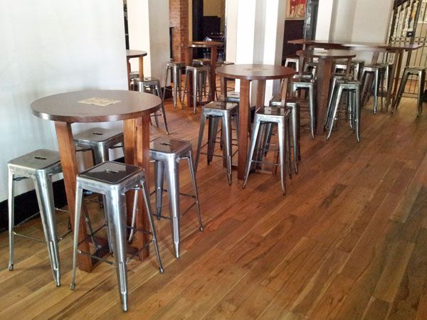 The Cumby– Adelaide | Concept Collections | Replica Tolix Indoor Barstool with Bespoke Tasmanian Oak Dry-Bars and George Cross-Leg Round Drybar.