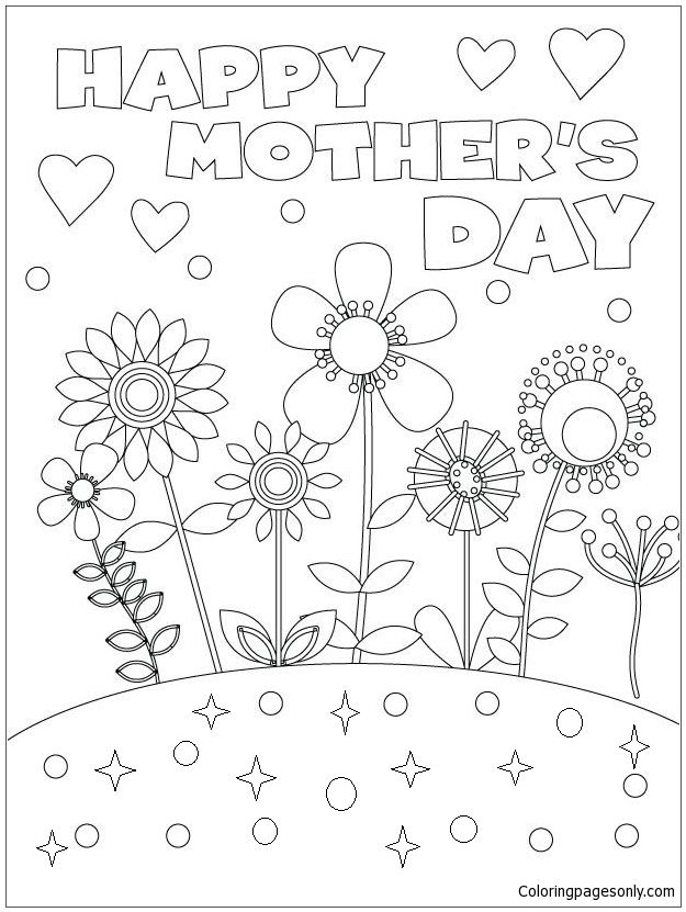 Happy Mother S Day Coloring Page Mothers Day Coloring Pages Mothers Day Coloring Cards Mother S Day Colors