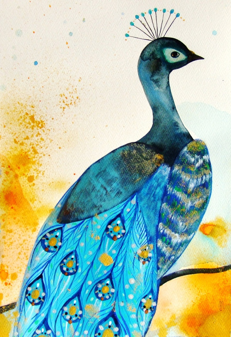 Peacock Original Painting Watercolor - by Celine, France ...
