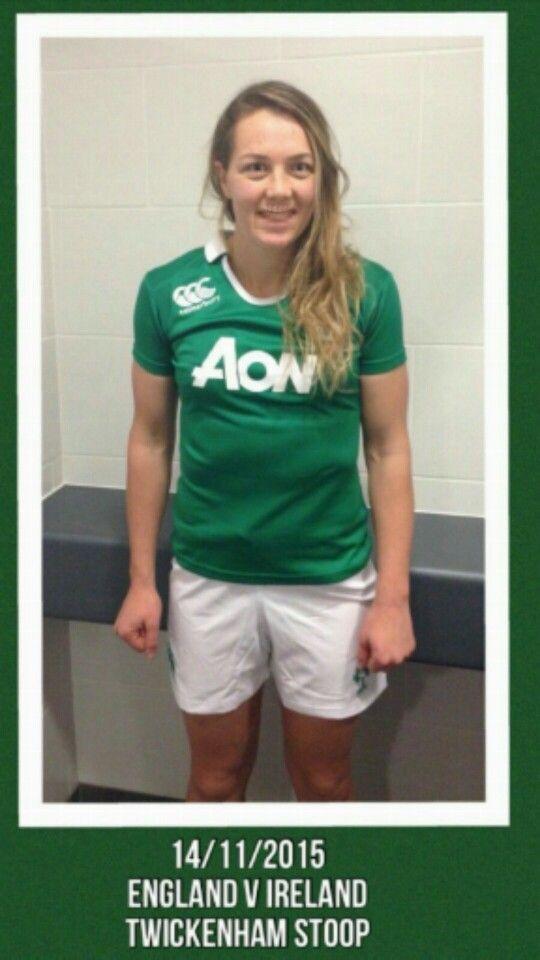 Ms Deacon sporting her Irish jersey.