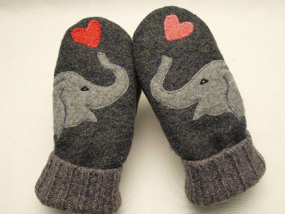 Recycled Sweater Mittens  Elephant Mittens Blue Grey and Red Fleece Lined Mittens Leather Palm Eco Friendly Size M on Etsy, $38.00