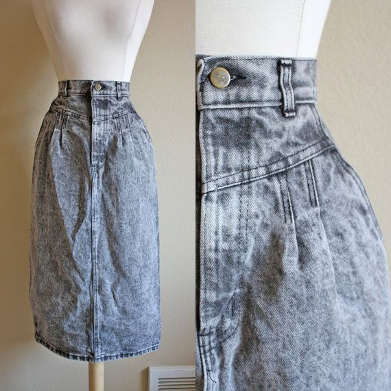 SALE // 1980s Denim High Waisted Skirt // Womens Black 80s Jean Acid Wash 90s Pencil Midi Skirt  // XS S M L Small Medium Large