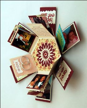 Hexagon Explosion Box - Explosion boxes look like a little gift, but when the lid is removed the sides fall down to reveal multiple tags where you can put photos, sayings, and other embellishments.