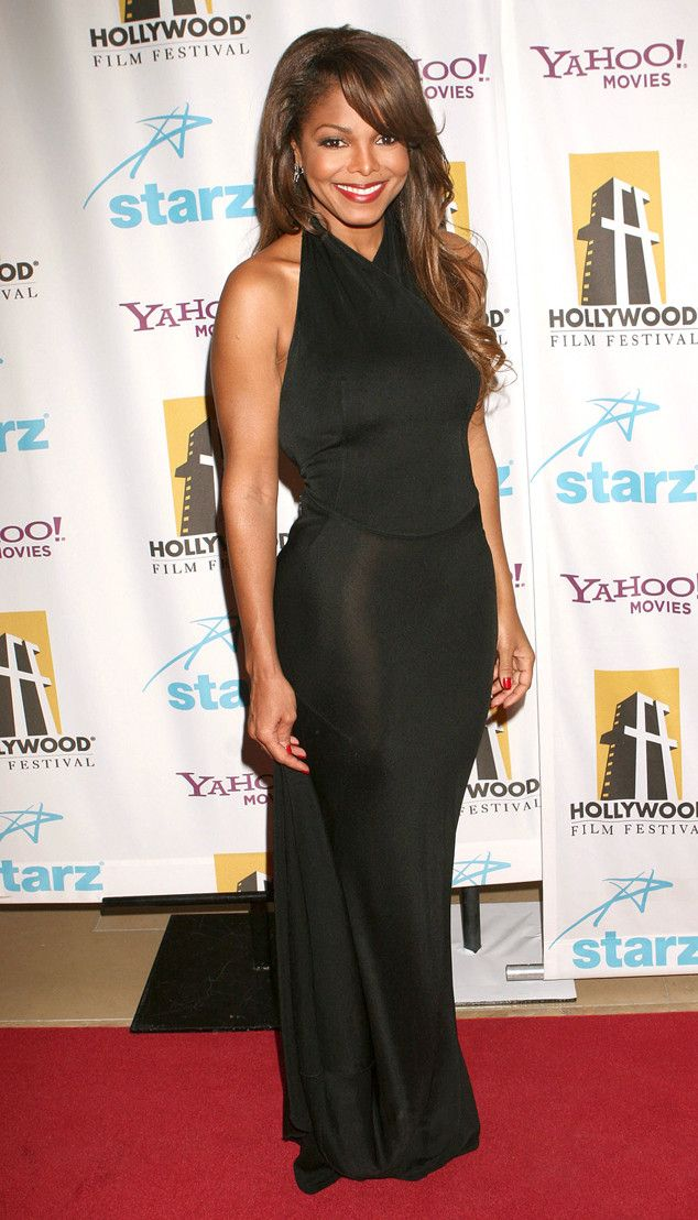 Effortless from Janet Jackson's Best Looks From Red Carpet to Concerts  It's another stunning, figure-hugging black dress for Janet at the 2007 Hollywood Film Festival.