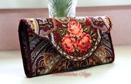 """Купить Клатч """" Звонница"""" из павловопосадского платка - орнамент, павловопосадский платок, изделия из платка"""