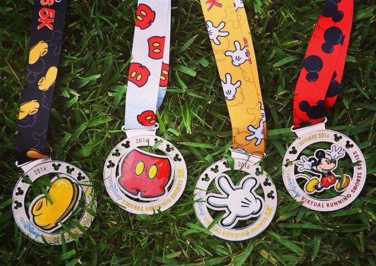 2016 Virtual Disney Running Shorts 5K Run Medals.
