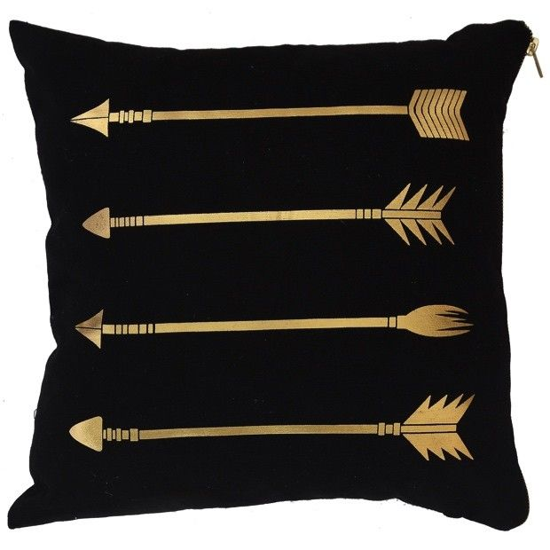 Black Pillow With Metallic Gold Arrows