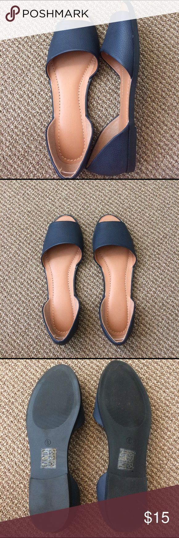 Navy flat sandals from Urban Outfitters Navy open toe sandals! Worn once, minimal signs of wear! Urban Outfitters Shoes Sandals