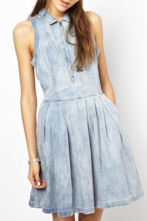 Denim Turn Down Collar Sleeveless Flare Dress