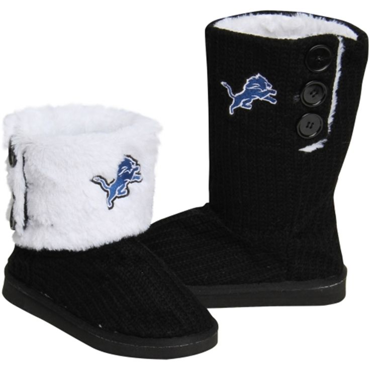 Detroit Lions Ladies Knit High End Button Boot Slippers - Black