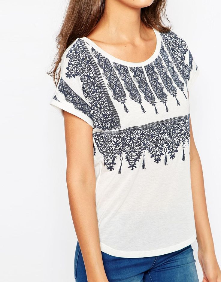 Image 3 ofVero Moda Tall Scarf Print T-Shirt