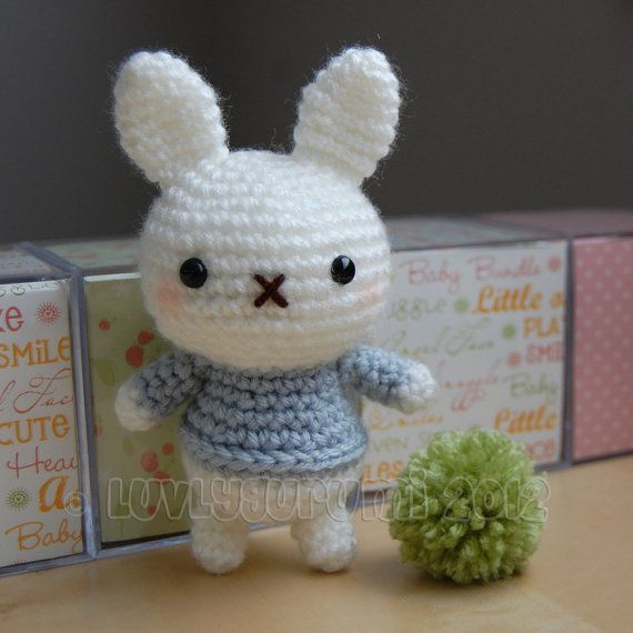 "*IMPORTANT NOTE* - This is a crochet pattern, not the completed toy. Baby bunnies are the newest addition to the family :) This pattern is easy to follow but requires basic crochet knowledge. You should be familiar with: ♥ crocheting in rounds (or spiral) ♥ single crochet ♥ increasing ♥ decreasing Baby bunnies stand approximately 6"" tall (this may vary depending on the yarn and the size of crochet hook used). PDF will be emailed in 24 hours following receipt of payment. If you hav"