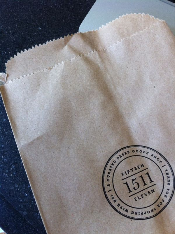 An example of a paper goods store using Pinterest for business - Letterpressed bags for the Paper Goods shop Fifteen Eleven of Alexandria, Virginia