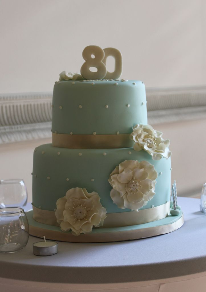 Duck Egg Blue Cake For An 80th Birthday Celebration