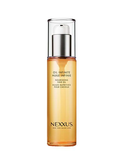 Nexxus Oil Infinite Nourishing Oil We wouldn't recommend it for superfine hair—unless you're going for the Danny-in-Grease look—but this smoothing serum works wonders on coarse, thick, frizzy hair. The blend of marula, babassu, buriti, sweet-almond, macadamia, and sunflower oils (say that five times fast) tames flyaways, smooths split ends, and detangles knots when applied to towel-dried hair and boosts shine when skimmed over dry, styled hair.