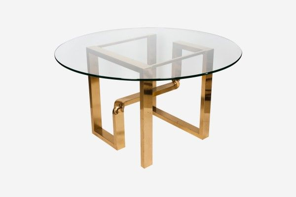 Abstract Brass Dining Table Italian 1970 Period 1970
