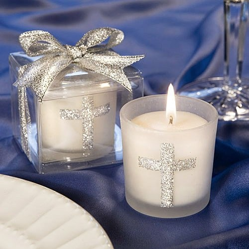 Glitter Cross Votive Candles by Beau-coup. Perfect for a communion/ confirmation party
