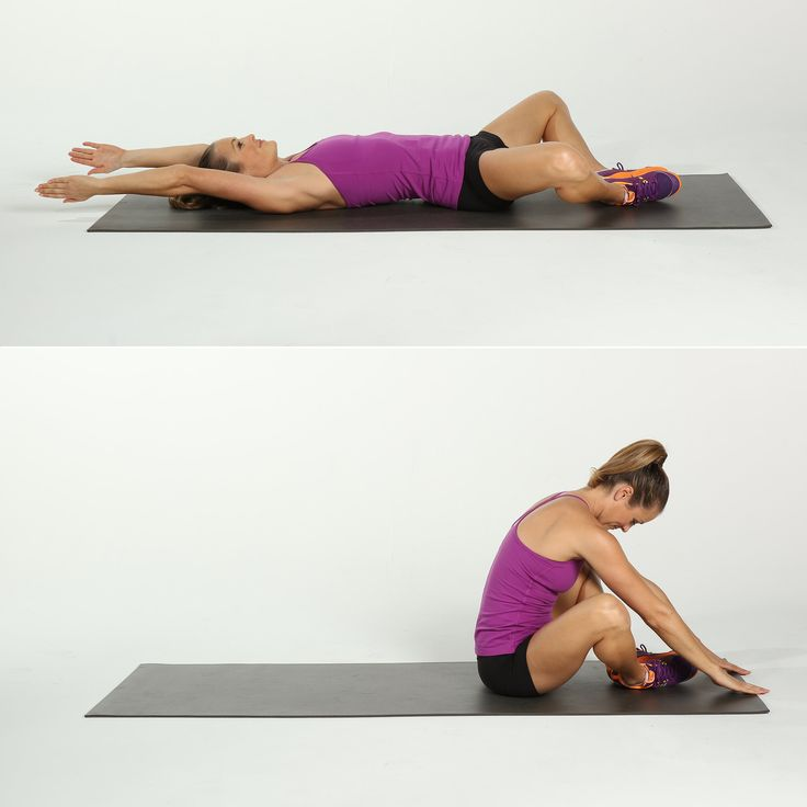 Lie on your back and open your legs into a diamond shape (aka butterfly legs), with the soles of your feet pressed together and knees out wide. Extend the arms overhead. Inhale to curl the torso up, and tap the floor in front of your feet to stretch your glutes a bit. Slowly lower back to the starting position. This counts as one rep.  Technically considered a sit-up, this effective move works the abs through a larger range of motion and adds some functional fitness training to the…