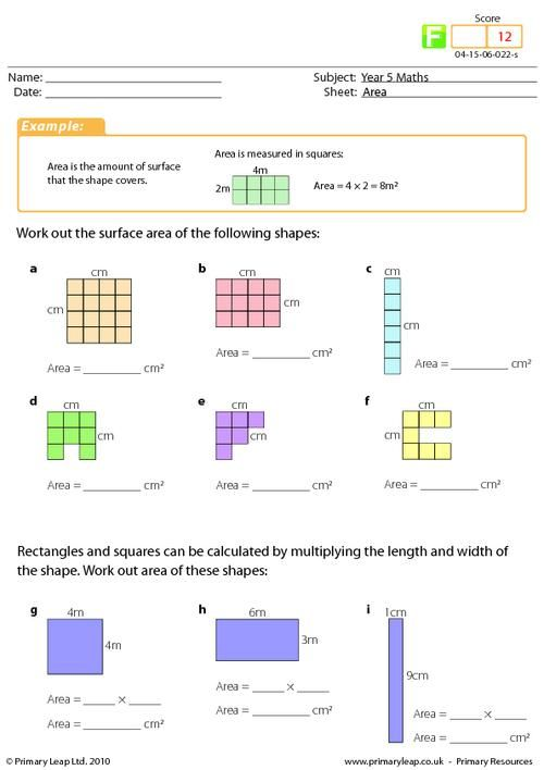 year 4 maths area worksheet maths printable worksheets primaryleap pinterest area. Black Bedroom Furniture Sets. Home Design Ideas