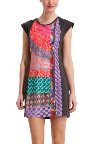 Desigual Women's Suaves dress. The interesting mix of fabrics stands out. The print is inspired by our star coats. Zip fastening at the back.