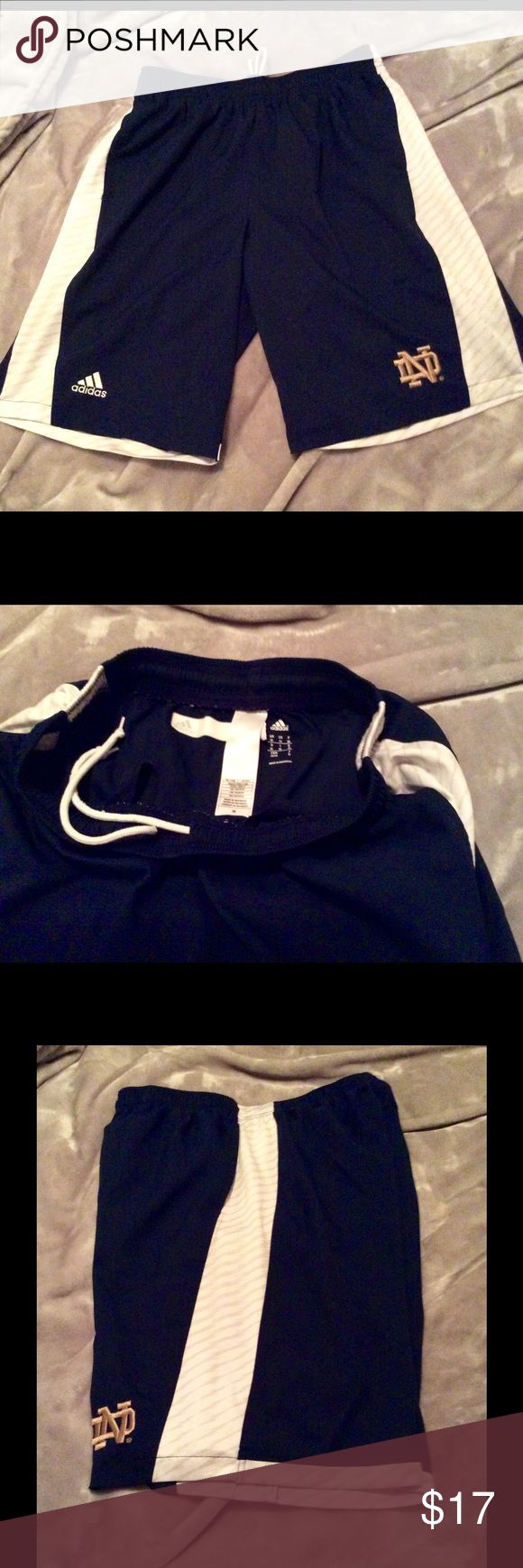 NOTRE DAME ADIDAS OFFICIAL ATHLETIC SHORTS Official University of NOTRE DAME Athletic shorts. Like new athletic department issue. Adidas Shorts Athletic