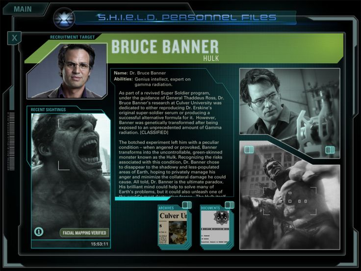 SHIELD Personnel Files - Dr. Bruce Banner/The Hulk