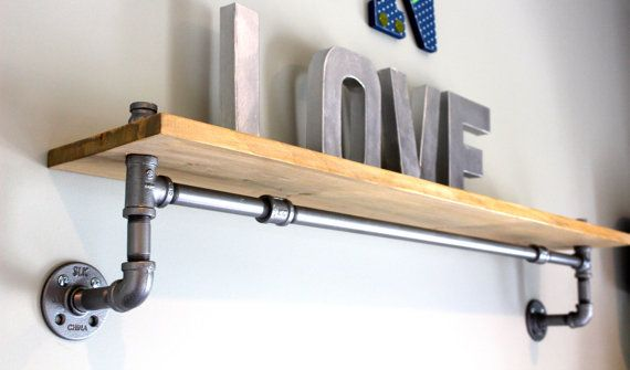 Industrial Pipe Shelving: Rustic Shelving Pipe by HouseofCrazi