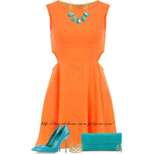 """Orange Dress, Turquoise Accessories."" by stay-at-home-mom on Polyvore #PANDORAsummercontest Pretty & colorful!"