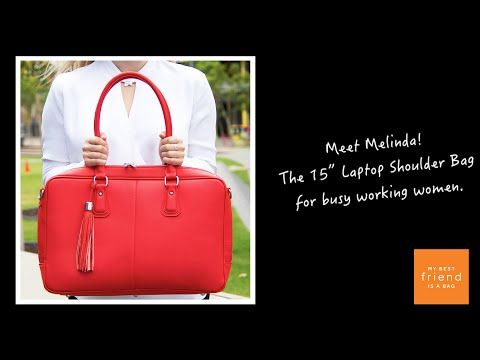 The Melinda 15 Inch Laptop Shoulder Bag For Women In Red - YouTube