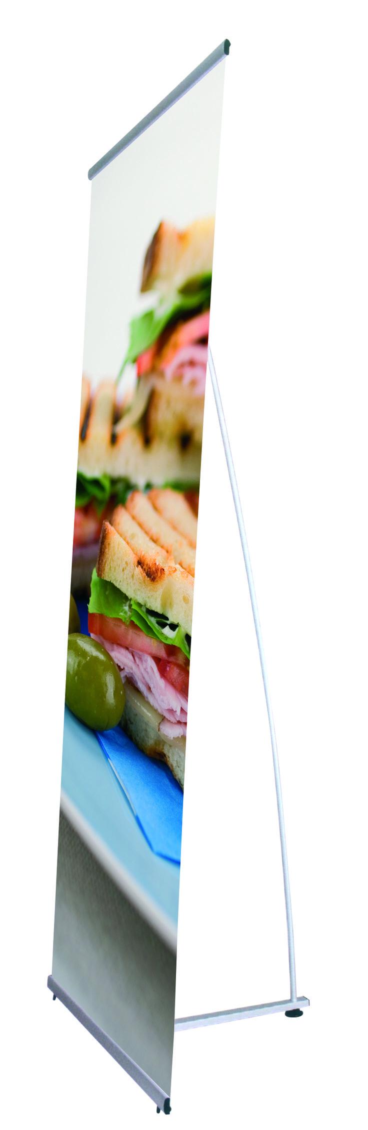 LIGHT BANNER - Un design essenziale con una struttura in alluminio di facile montaggio con profili clic/clac per un cambio rapido della grafica. Con la sua leggerezza è facilmente trasportabile per un'utilizzo durante manifestazioni e convegni. Ideale per organizzare campagne promozionale su punti vendita. Dimensioni: L. 80, 100 cm - H. 200 cm