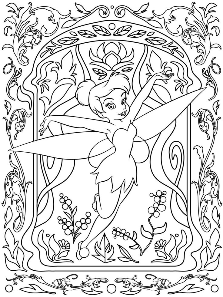 Celebrate national coloring book day with disney style · adult coloring pageskids coloringtinkerbell