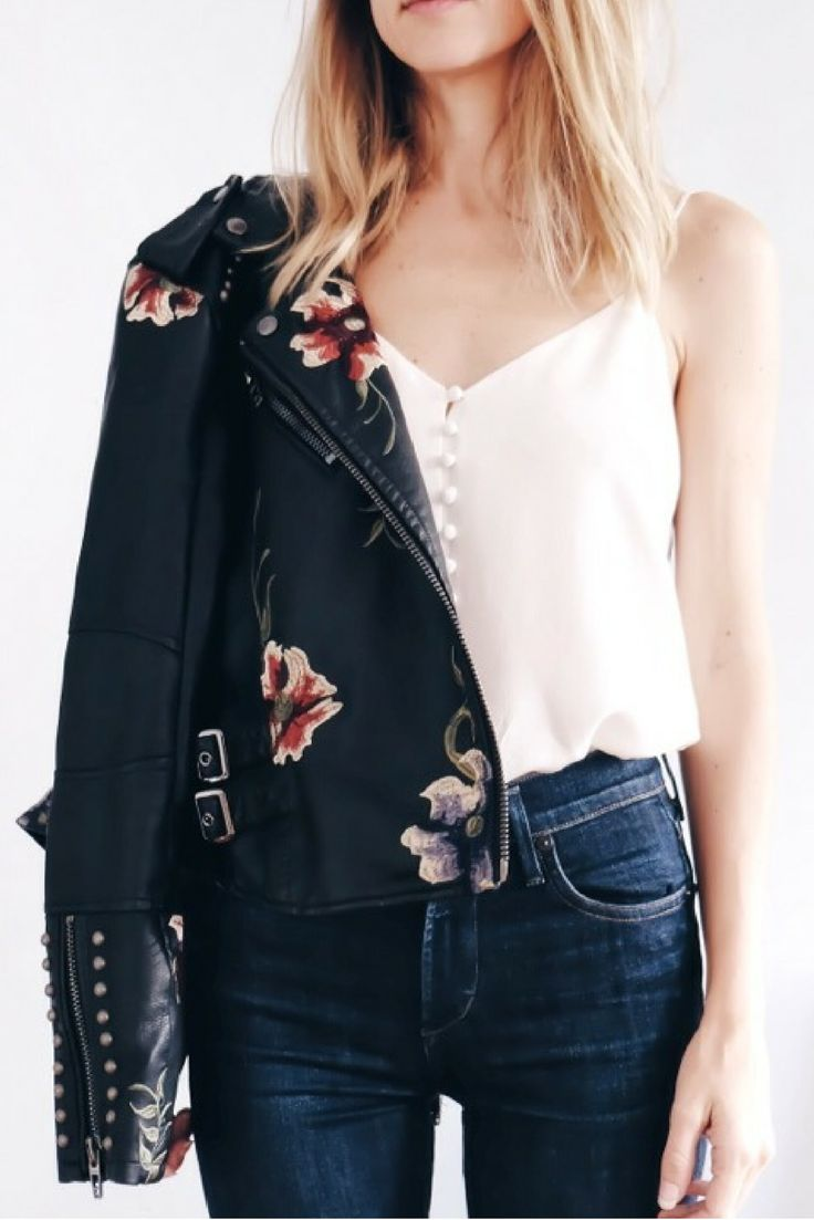 Floral Embroidered Leather Jacket styled by Dani of Shikshin.com