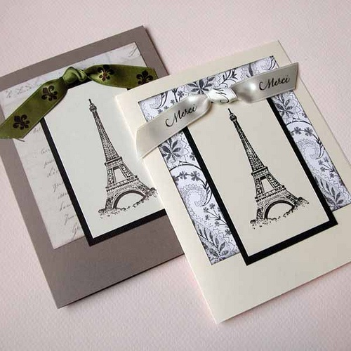 Eiffel Tower Cards Flax And IvoryPaisley by monamigreetings, via Flickr