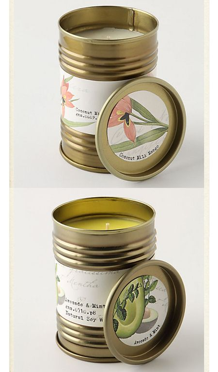 DIY simple recycled container candles. Use old soup cans, spray paint them matte gold, melt, scent and pour candles and design your own festive holiday labels.