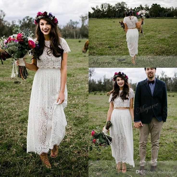 Vintage Retro Lace Two Pieces Short Boho Wedding Dresses With Sleeves 2018  Modest Jewel Tea Length Country Farm A Line Wedding Gowns Cheap