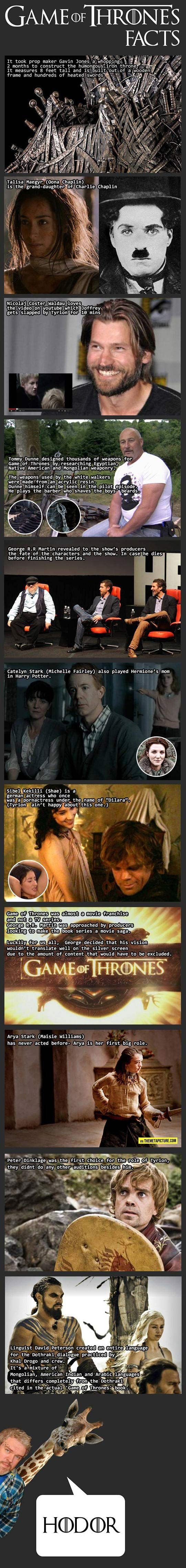 Some interesting Game of Thrones facts... I cannot express my jealousy for the producers mentioned in the fifth frame