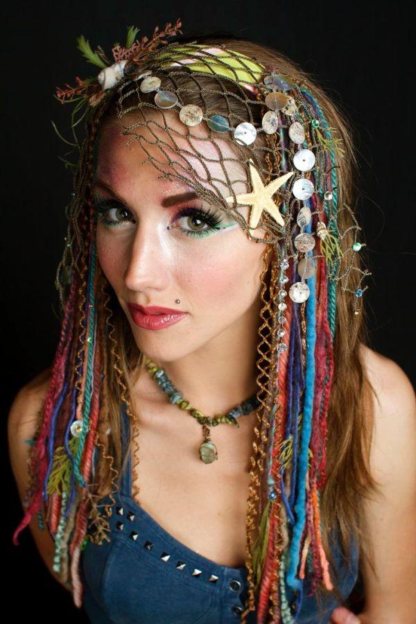 www.etsy.com/shop/lotuscircle lotuscircle, headdress, headdresses, wig, headpiece, dreads, faery, faerie, woodland, forest dweller, goddess, gypsy, fantasy, mermaid, design, handmade, fairyhair, makeup, fashion, design, burningman, ocean headdress, sea goddess, siren by rochelle