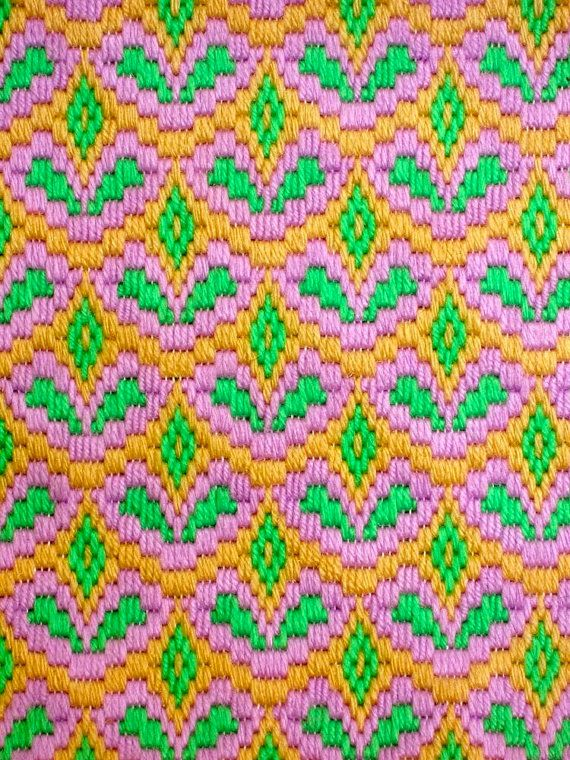 Vintage Bargello Needlepoint Abstract Design in Lavender Lime & Beige Interesting Op Art Wall Hanging