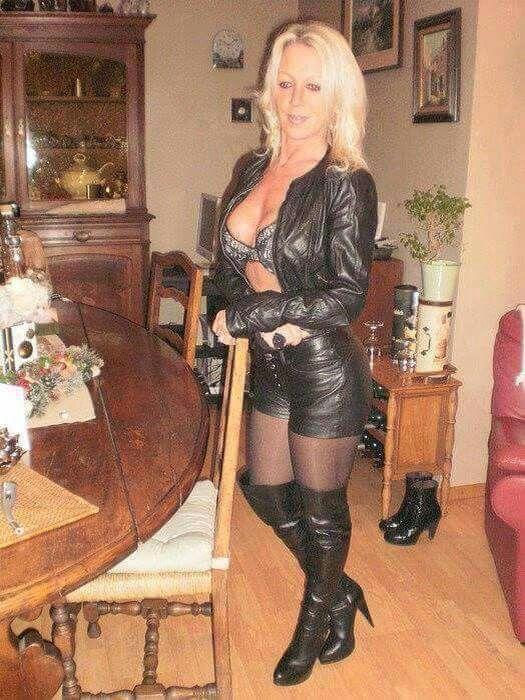 In dominatrix mature leather blonde