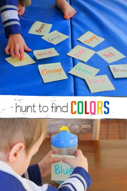Learning colors and color words with a simple scavenger hunt to find those colors