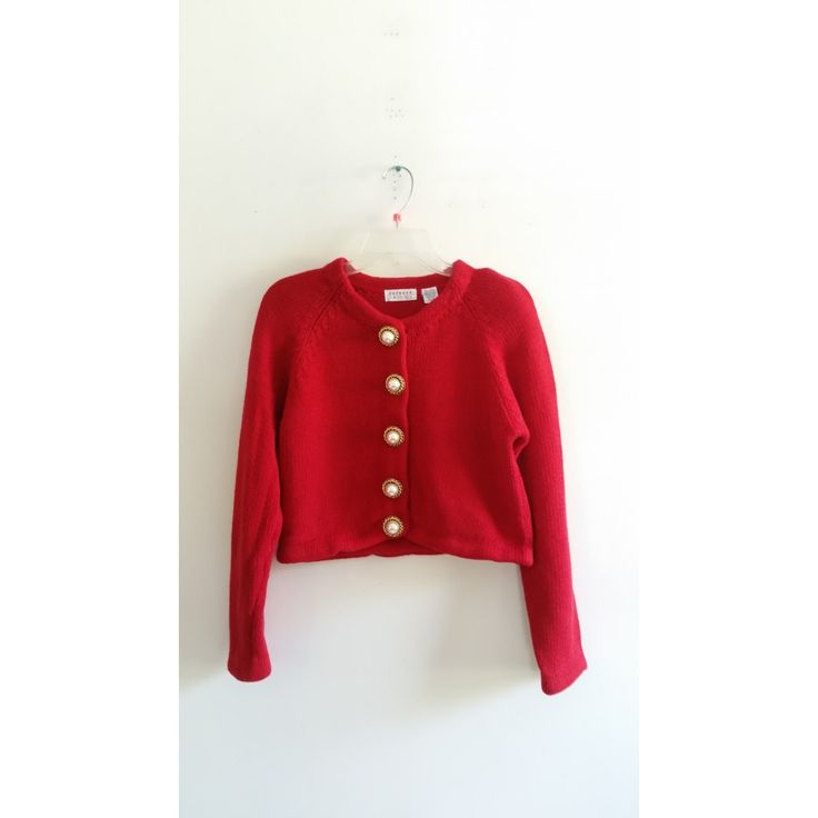 Vintage 1960 Express Tricot Red Pearl Gold Big Button Down Crop Christmas Cardigan Sweater Sz XS