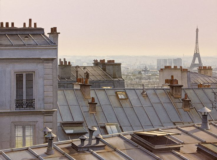 THIERRY DUVAL  -   Paris  'Les toits de Paris entre chien et loups'  (Aquarelle)