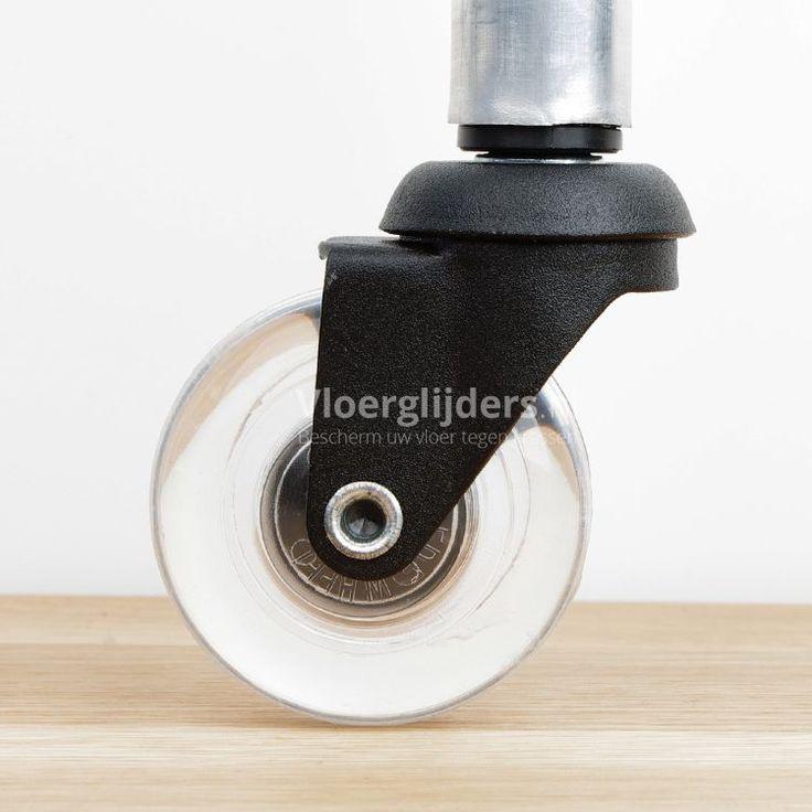 Zwarte Inline meubelroller met transparante polyurethaan band en kogellager voor zeer soepel rollen. Uitstekend geschikt voor onder eetkamerstoelen.