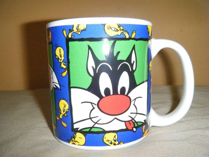 """Sakura 1994 Warner Bros Looney Tunes SYLVESTER & TWEETY Coffee Mug Cup 3 3/4"""""""