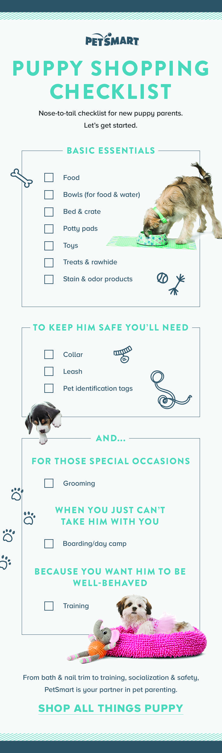 Are you the pet parent of a new puppy? Pin, print or favorite this puppy shopping checklist to take the guesswork out of what your new pet needs!