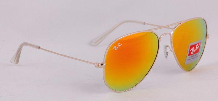 Солнечные очки Ray-Ban Aviator (Авиатор RB 3025) золотистая оправа, оранжевые зеркальные поляризованные стекла хамелеон #19715