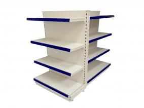#displayshelves #shopshelving - Quality cream metal shelving - picture shows a gondola shelving unit with a free standing end unit - Quality #retailshelving at low cost - In stock for immediate delivery.