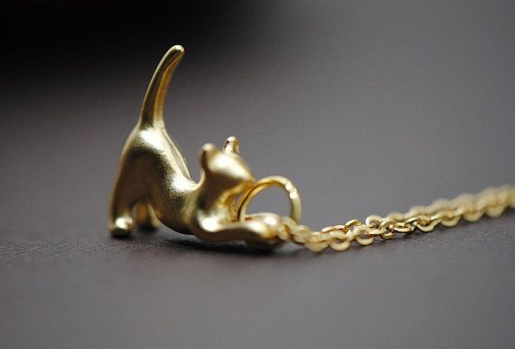 Kitty Cat Necklace Gold  Purrrfection Cat by SilverLotusDesigns