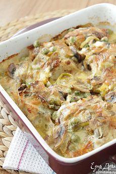 Запеченная треска с шампиньонами и горошком | Кулинарные рецепты от «Едим дома!»